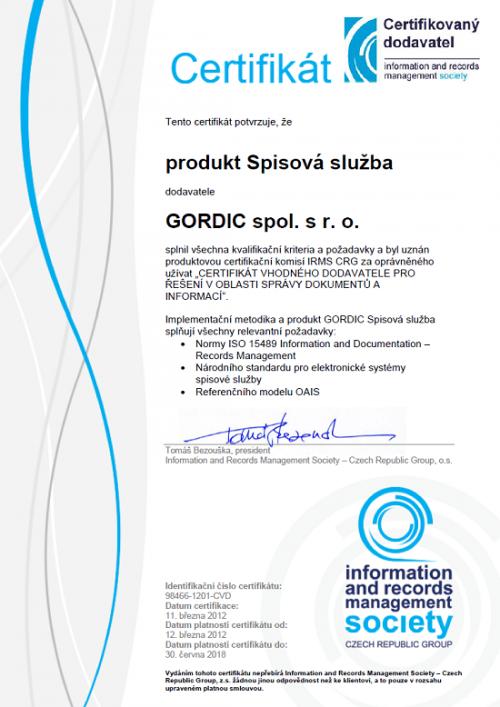 GORDIC opět obdržel Certifikát vhodného dodavatele pro spisovou službu