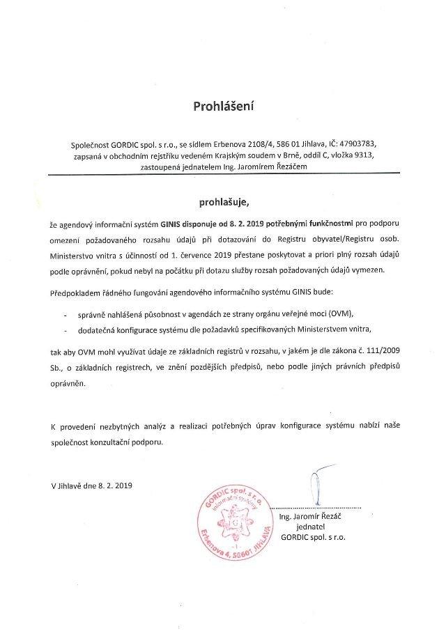 Prohlášení společnosti GORDIC spol. s r. o. k připravenosti IS GINIS na změny při dotazování do základních registrů: