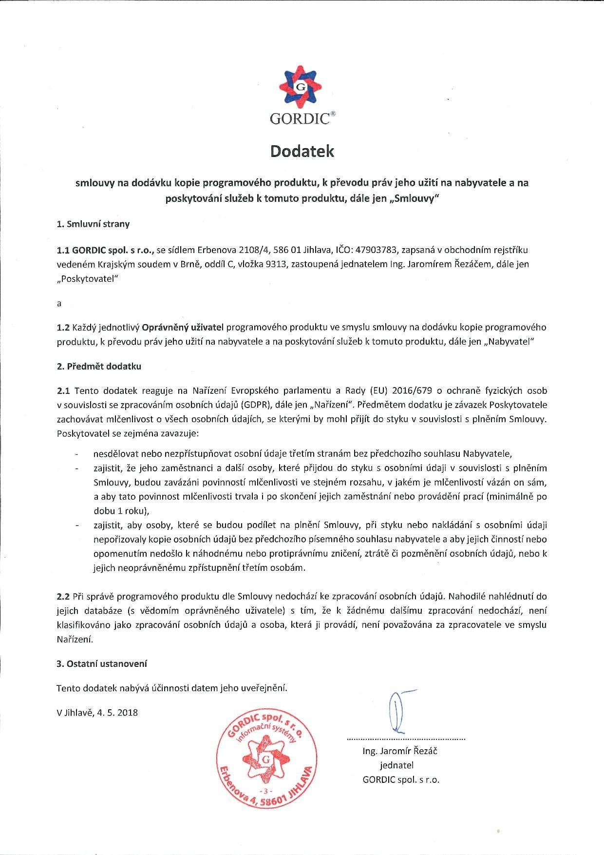 Dodatek k licenčním smlouvám na programy řady GINIS© Express kvůli nařízení GDPR