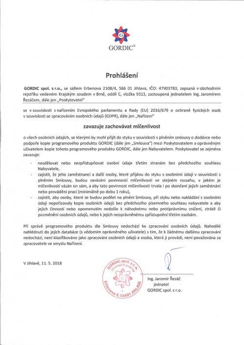 Prohlášení o závazku mlčenlivosti související s nařízením GDPR